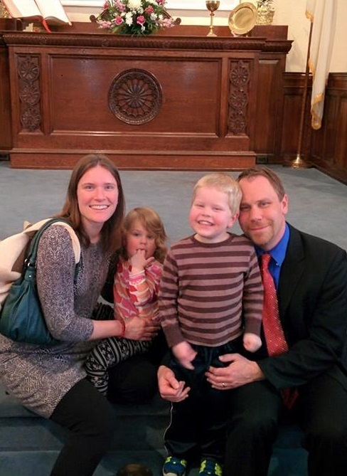 Rev. Peter Martin, his wife Tara, and two children, Kade and Willow